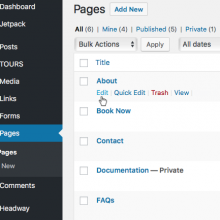 EDITING PAGES: Selecting the page from the page menu